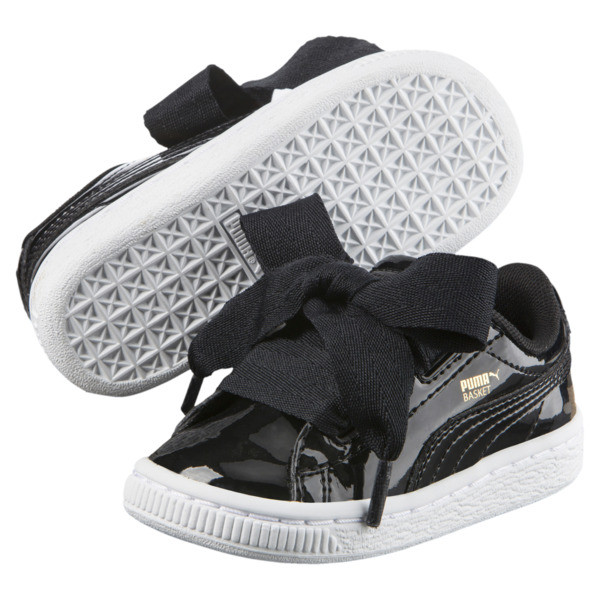 Basket Heart Patent Sneakers PS, Puma Black-Puma Black, large
