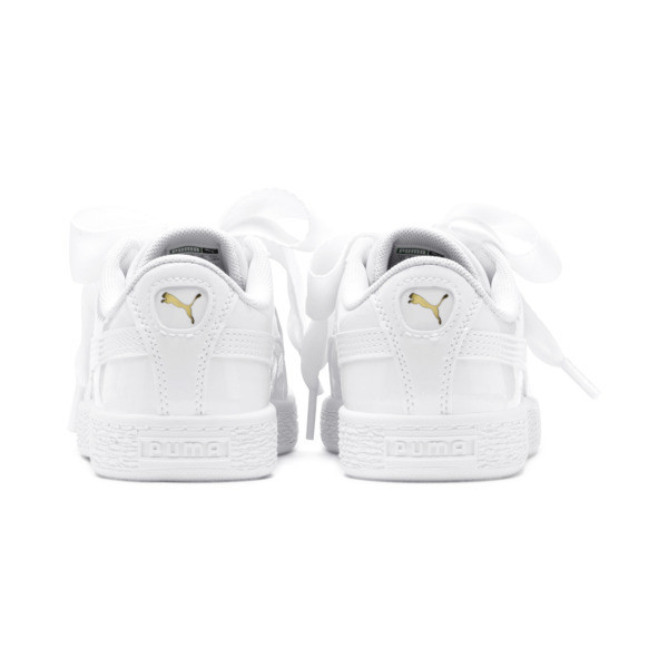 Chaussure Basket Heart Patent Pre-School pour fille, Puma White-Puma White, large