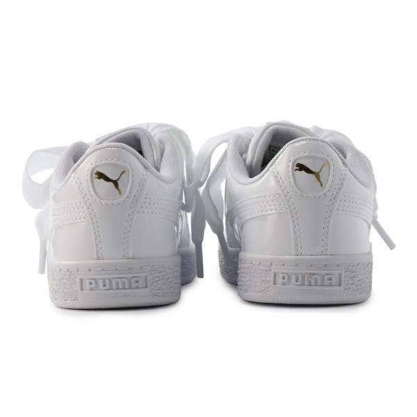 キッズ ガールズ BASKET HEART パテント PS 17-21cm, Puma White-Puma White, large-JPN