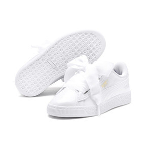 Thumbnail 2 of Basket Heart Patent Pre-School Girls' Trainers, Puma White-Puma White, medium