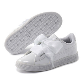 Thumbnail 2 of キッズ ガールズ BASKET HEART パテント PS 17-21cm, Puma White-Puma White, medium-JPN
