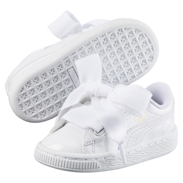 Basket Heart Patent Sneakers PS, Puma White-Puma White, large