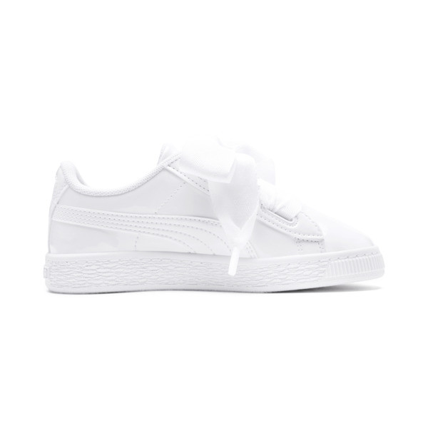 Basket Heart Patent Pre-School Girls' Trainers, Puma White-Puma White, large