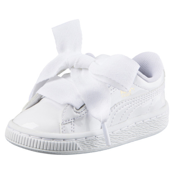 Basket Heart Babies' Trainers, Puma White-Puma White, large