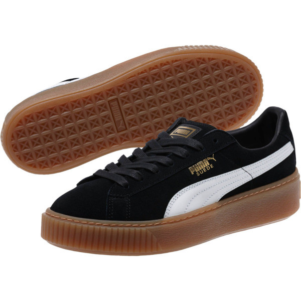 Suede Platform Core Women's Sneakers, Puma Black-Puma White, large