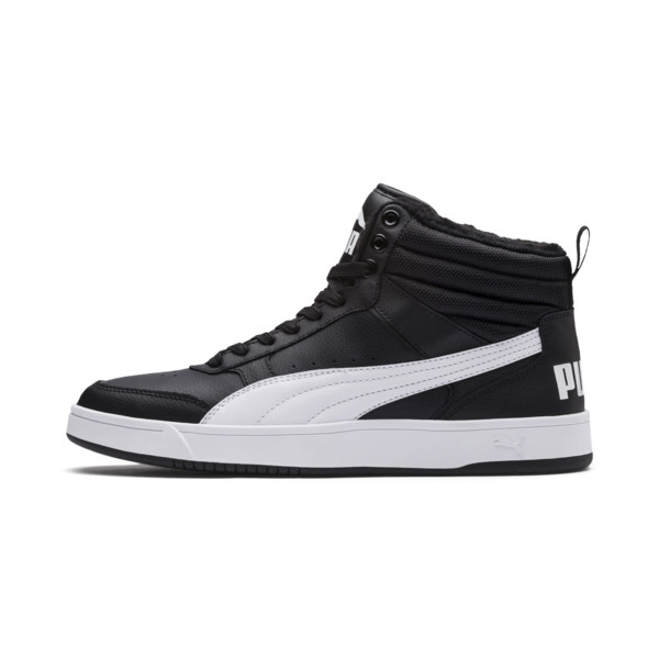Rebound Street v2 Fur High Tops, Puma Black-Puma White, large