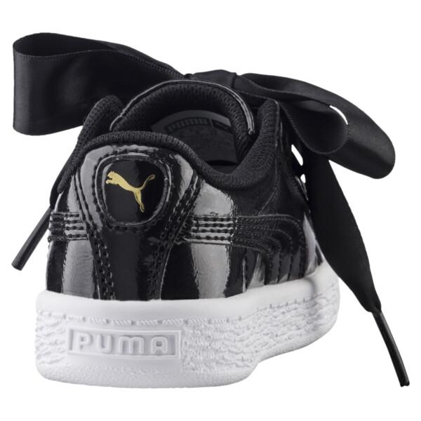 Basket Heart Glam Preschool Sneakers, Puma Black-Puma Black, large