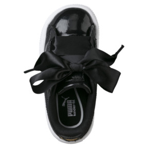 Thumbnail 5 of Basket Heart Glam Preschool Sneakers, Puma Black-Puma Black, medium