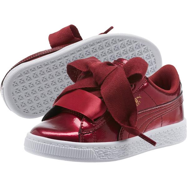 Basket Heart Glam Preschool Sneakers, Tibetan Red-Tibetan Red, large