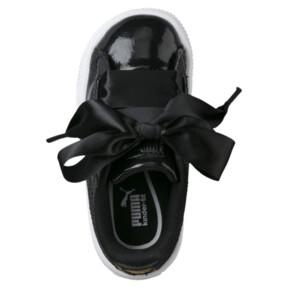 Thumbnail 5 of Basket Heart Glam Girls' Sneakers, Puma Black-Puma Black, medium