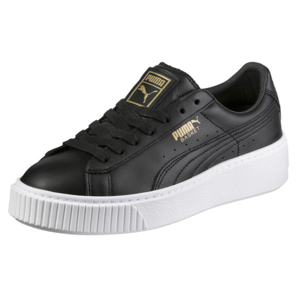 Basket Platform Core Women's Trainers, Puma Black-Gold, large