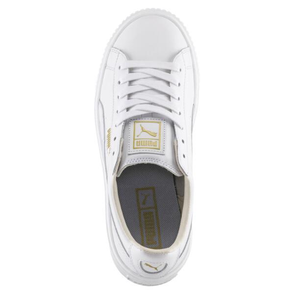Basket Platform Core Women's Sneakers, Puma White-Gold, large