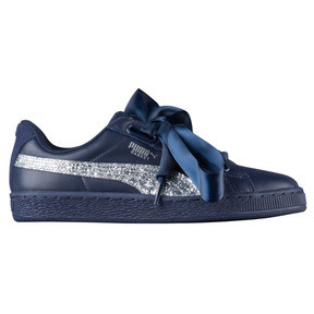 Thumbnail 1 of Basket Heart Glitter Women's Sneakers, Peacoat-Puma Silver, medium