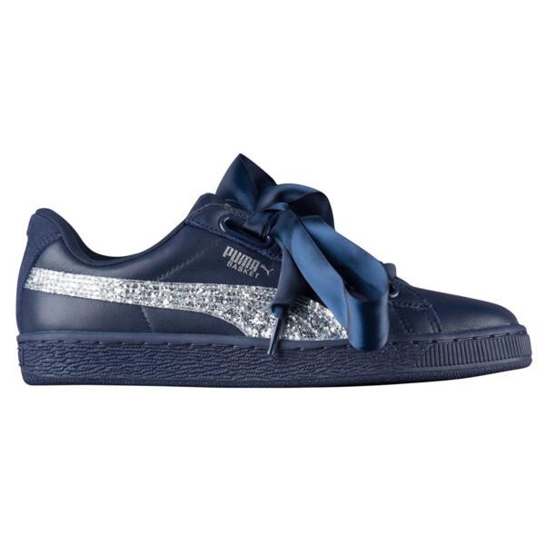 Basket Heart Glitter Women's Sneakers, Peacoat-Puma Silver, large