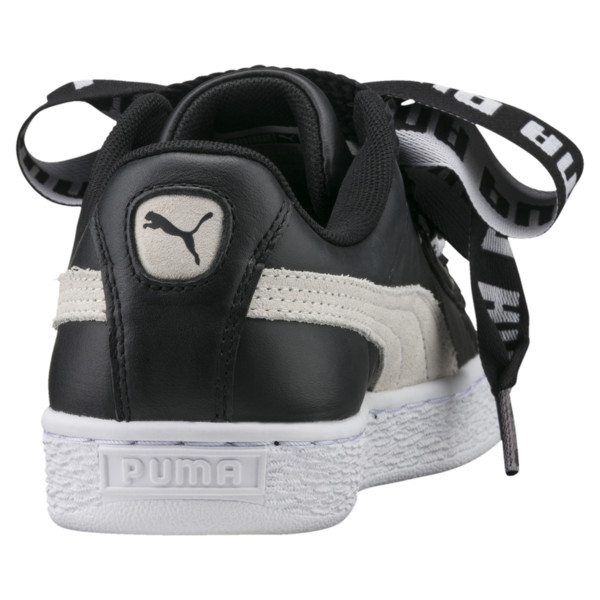 Basket Heart DE Women's Sneakers, Puma Black-Puma White, large