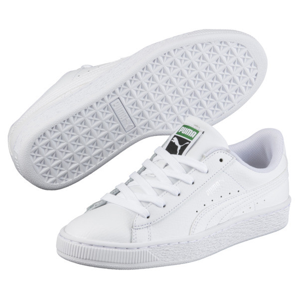 Basket Classic Sneakers JR, Puma White-Puma White, large