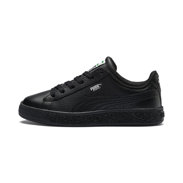 Basket Classic Kids' Trainers, Puma Black-Puma Black, large