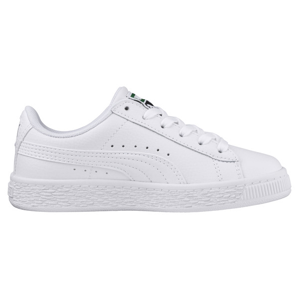 Basket Classic Kids' Trainers, Puma White-Puma White, large