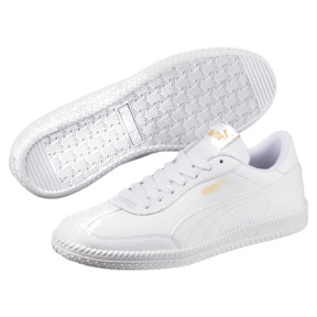 Thumbnail 2 of Astro Cup Leather Trainers, Puma White-Puma White, medium