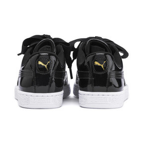 Thumbnail 3 of Basket Heart Patent Sneakers JR, Black-PRISM PINK-Gold-White, medium