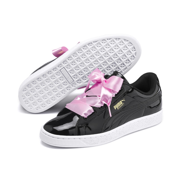 Basket Heart Patent Youth Trainers, Black-PRISM PINK-Gold-White, large
