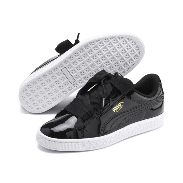 Basket Heart Patent Sneakers JR, Black-PRISM PINK-Gold-White, large