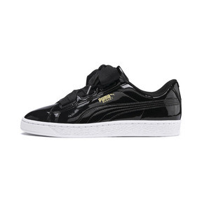 Thumbnail 1 of Basket Heart Patent Sneakers JR, Black-PRISM PINK-Gold-White, medium