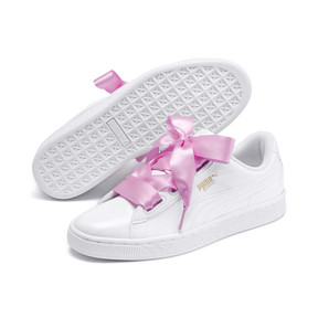 Thumbnail 7 of Basket Heart Patent Youth Sneakers, White-Black-PRISM PINK-Gold, medium