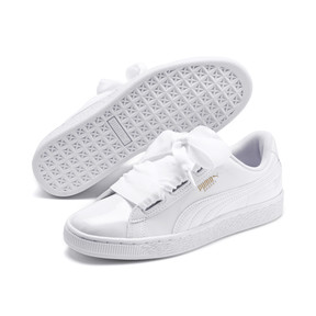 Thumbnail 2 of Basket Heart Patent Youth Sneakers, White-Black-PRISM PINK-Gold, medium