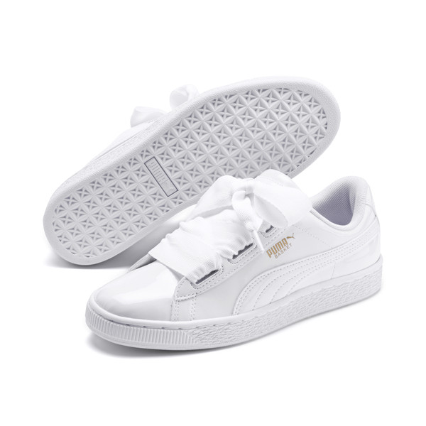Basket Heart Patent Youth Sneakers, White-Black-PRISM PINK-Gold, large