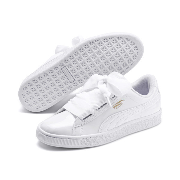 Basket Heart Patent Sneakers JR, White-Black-PRISM PINK-Gold, large