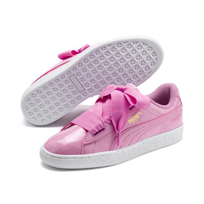 Thumbnail 2 of Basket Heart Patent Sneakers JR, PRISM PINK-Pcoat-Gold-White, medium