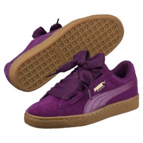 Thumbnail 2 of Suede Heart Snake JR Sneakers, Dark Purple-Dark Purple, medium