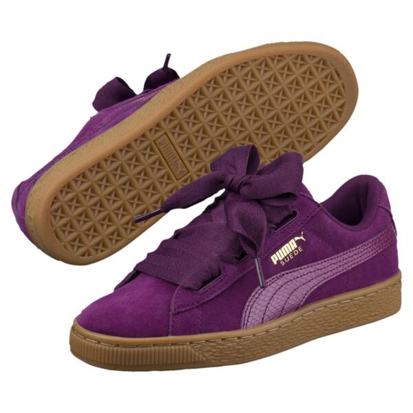 Suede Heart Snake JR Sneakers, Dark Purple-Dark Purple, large