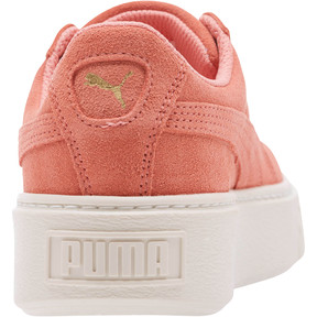 Thumbnail 4 of Suede Platform Glam Girls' Sneakers, Puma Team Gold-Shell Pink, medium