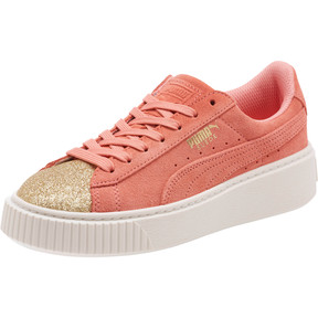 Thumbnail 1 of Suede Platform Glam Girls' Sneakers, Puma Team Gold-Shell Pink, medium