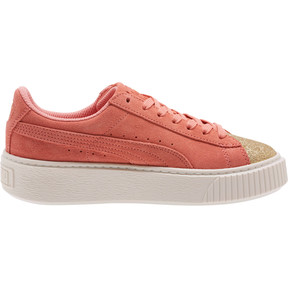 Thumbnail 3 of Suede Platform Glam Girls' Sneakers, Puma Team Gold-Shell Pink, medium