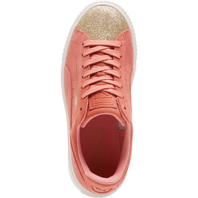 Thumbnail 5 of Suede Platform Glam Girls' Sneakers, Puma Team Gold-Shell Pink, medium