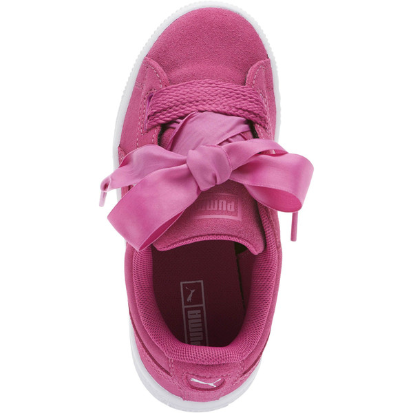 Suede Heart Preschool Sneakers, Rose Violet-Puma White, large