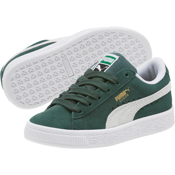 Suede Classics Preschool Sneakers, Pineneedle-Puma White, large