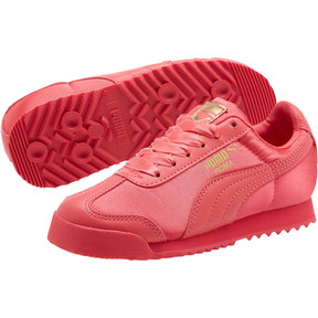 Thumbnail 2 of Roma Satin Preschool Sneakers, Paradise Pink-Puma Team Gold, medium