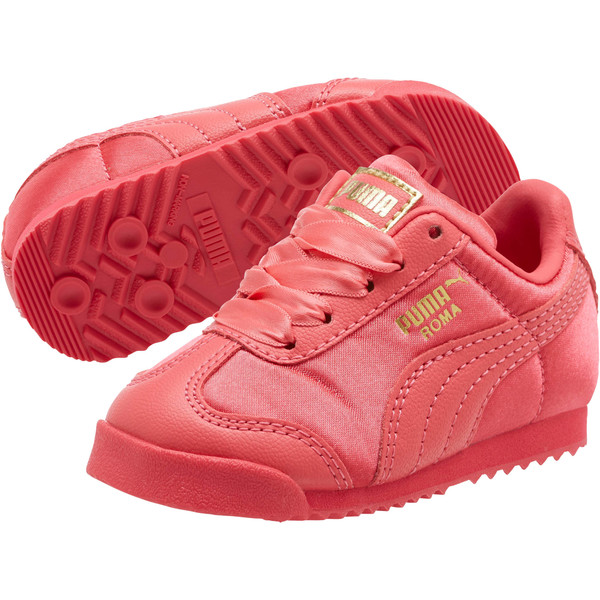 Roma Satin Infant Sneakers, Paradise Pink-Puma Team Gold, large