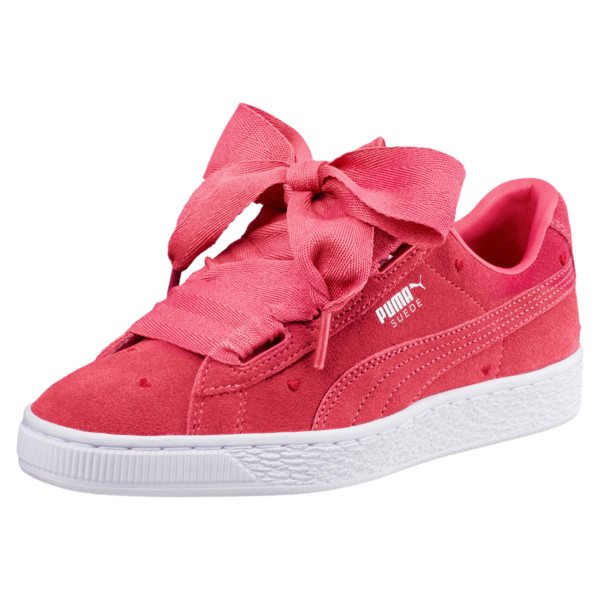 Suede Heart Valentine Sneakers JR, Paradise Pink-Paradise Pink, large