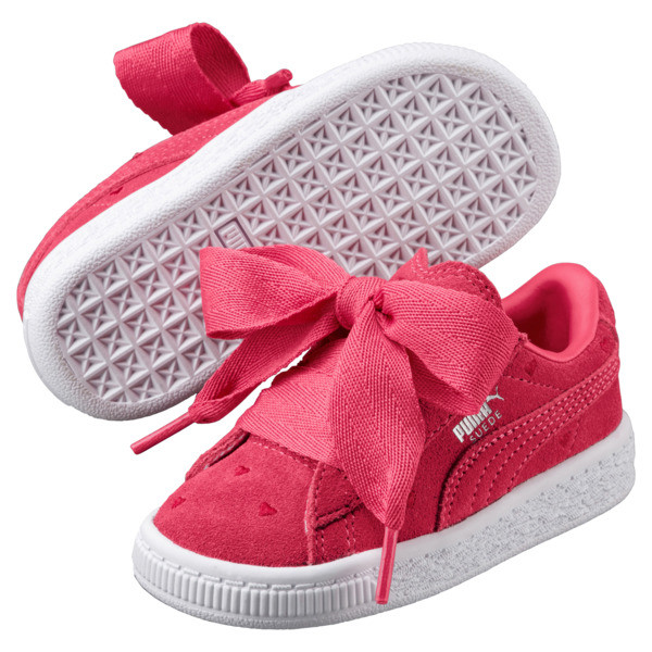 Suede Heart Valentine Girls' Sneakers, 01, large