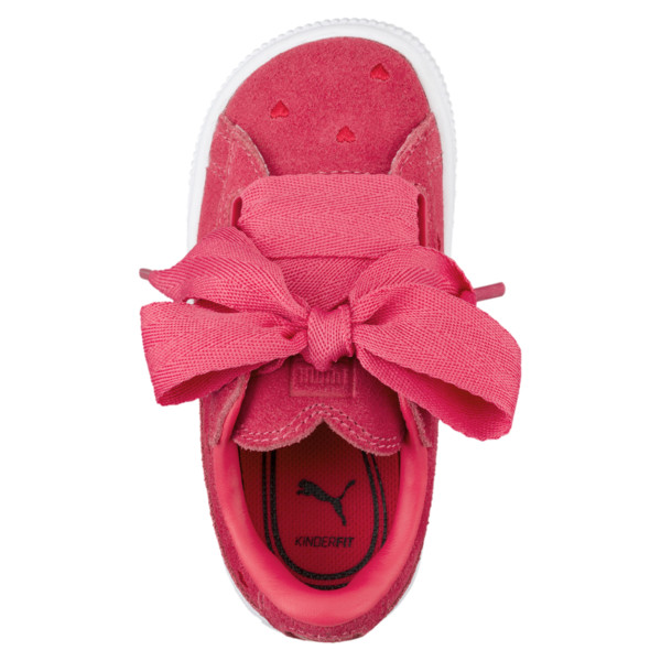 Suede Heart Valentine Little Kids' Shoes, Paradise Pink-Paradise Pink, large