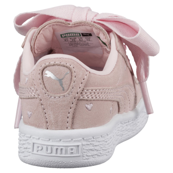 Suede Heart Valentine Infant Training Shoes, Pearl-Pearl, large