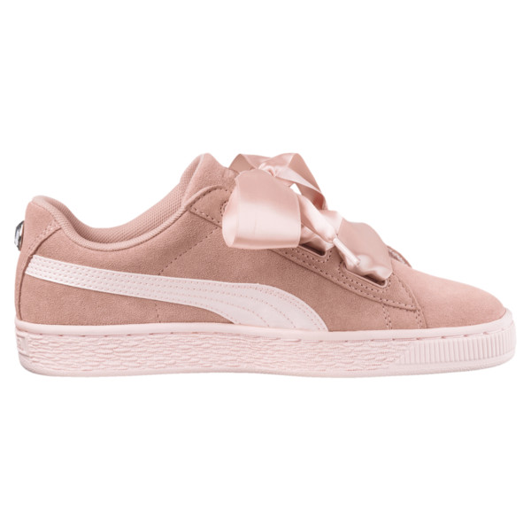 Suede Heart Jewel JR Sneakers, Peach Beige-Pearl, large