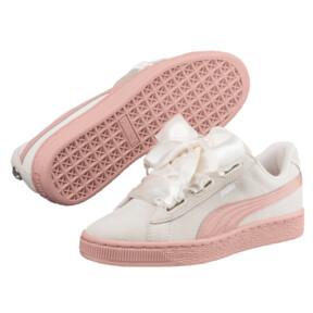 Thumbnail 2 of Suede Heart Jewel JR Sneakers, Whisper White-Peach Beige, medium