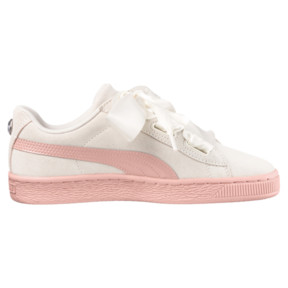 Thumbnail 3 of Suede Heart Jewel JR Sneakers, Whisper White-Peach Beige, medium