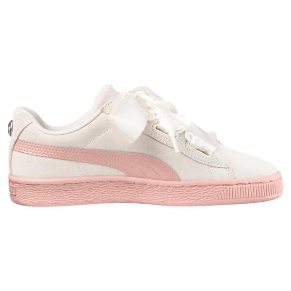 Suede Heart Jewel JR Sneakers, Whisper White-Peach Beige, large